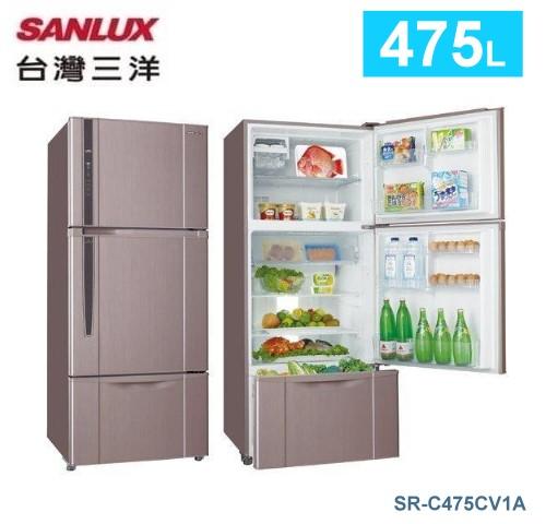 【佳麗寶】-留言加碼折扣《台灣三洋 / SANLUX 》三門直流變頻冰箱-475L【SR-C475CV1A】-0